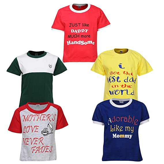 80b722f3 Goodway Boys Pack of 5 Mom and Dad Theme Printed T-shirts(JB5PCKM&D ...