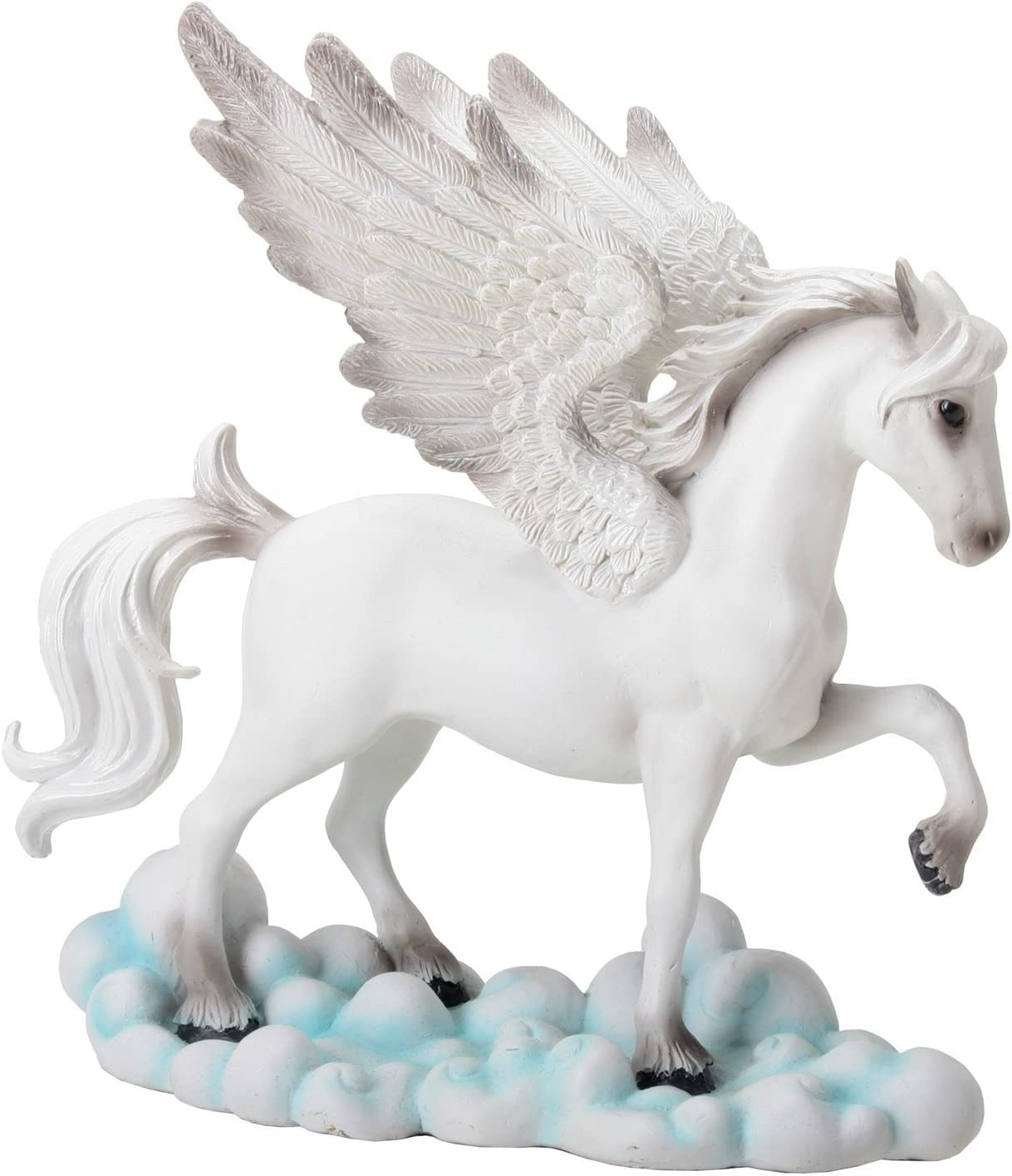 YTC White Tone Pegasus Horse with Wings Standing on Clouds Statue Display
