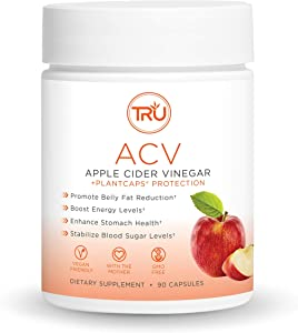 "TRU ACV, Apple Cider Vinegar, Organic ACV with ""The Mother"", Lowers Blood Sugar, Improves Digestion and Skin Health, 45 Servings, 1000mg"
