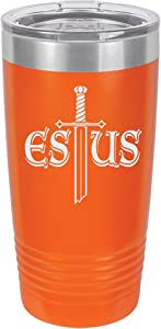 Souls of the Dark Estus Flask Design Engraved Vacuum Insulated Travel Drink Tumbler, 20 Oz, Orange