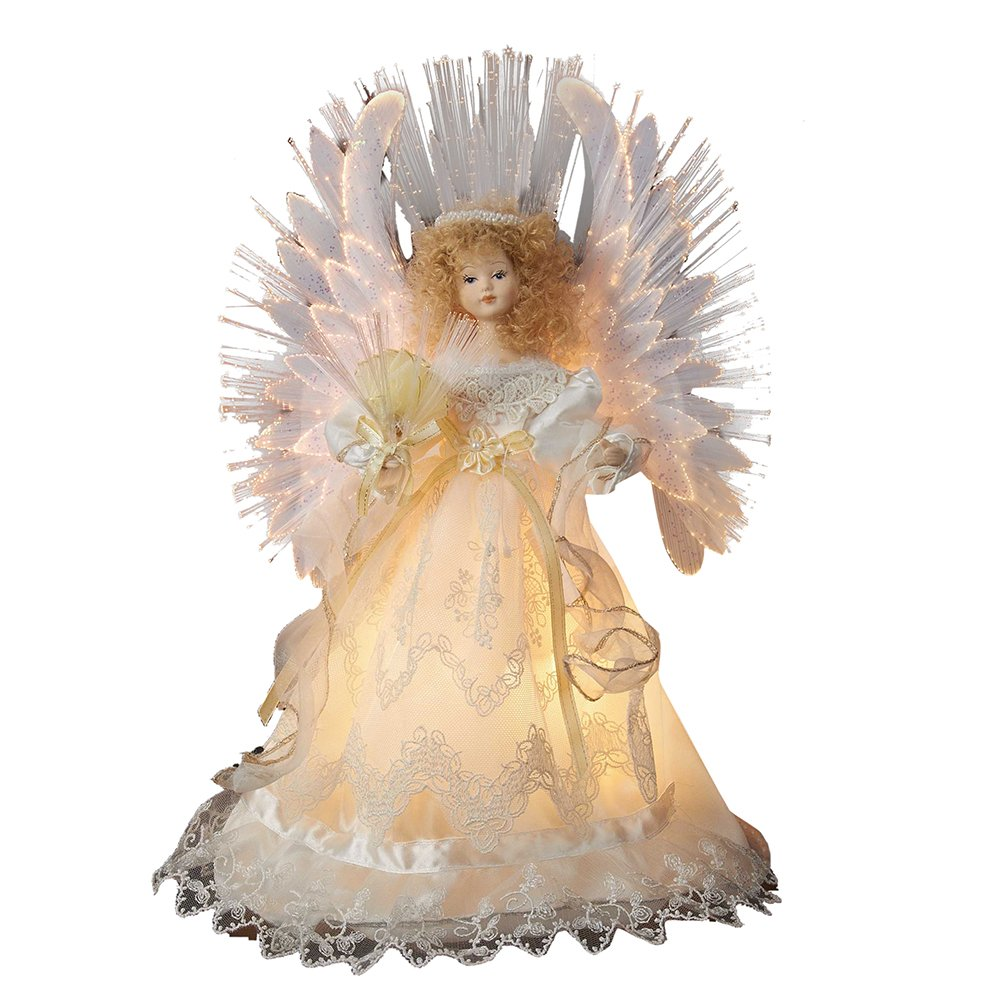 Kurt Adler Fiber Optic Ivory Angel Treetop, 14-Inch