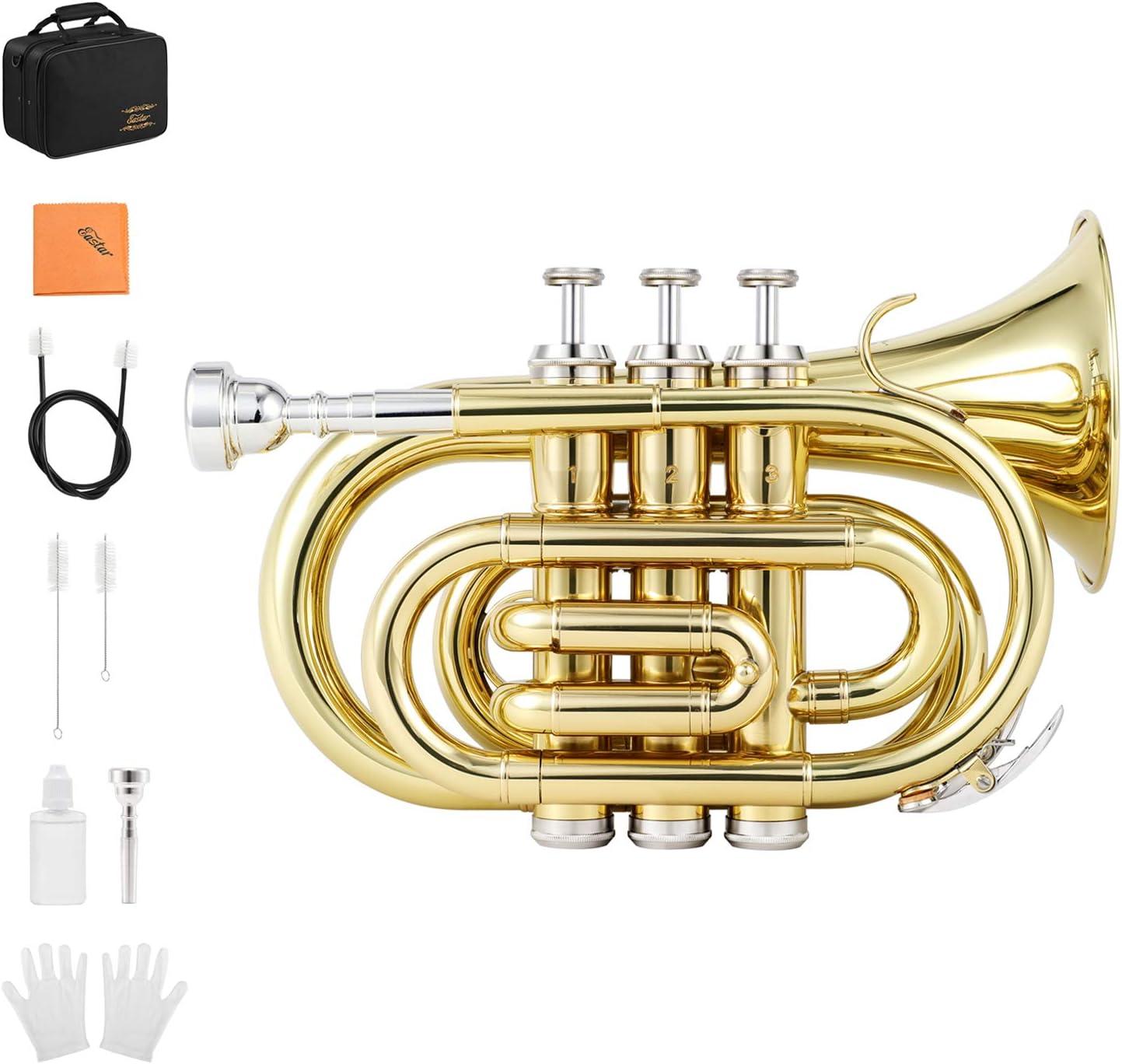 Eastar ETR-330 Pocket Trumpet Bb Gold Lacquer Mini Trumpet B Flat