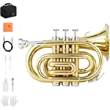 Eastar Pocket Trumpet B Flat Brass Bb Pocket Trumpet with Valve Oil, Mouthpiece 7C, Cleaning Cloth, Hard Case, Gloves…