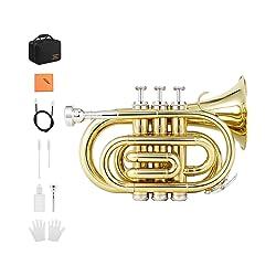 Eastar ETR-330 Pocket Trumpet Bb Gold Lacquer Mini Trumpet
