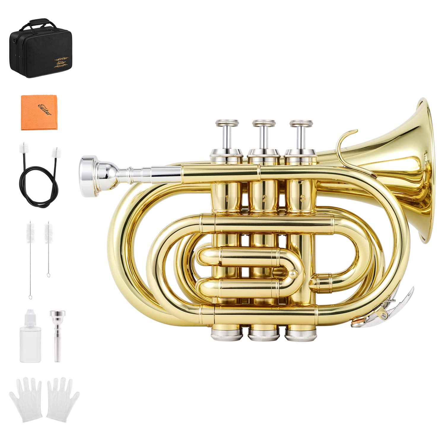 Eastar ETR-330 Pocket Trumpet Bb Gold Lacquer Mini Trumpet B Flat with Hard Case, Gloves, 7 C Mouthpiece, Valve Oil, Trumpet Cleaning Kit by Eastar