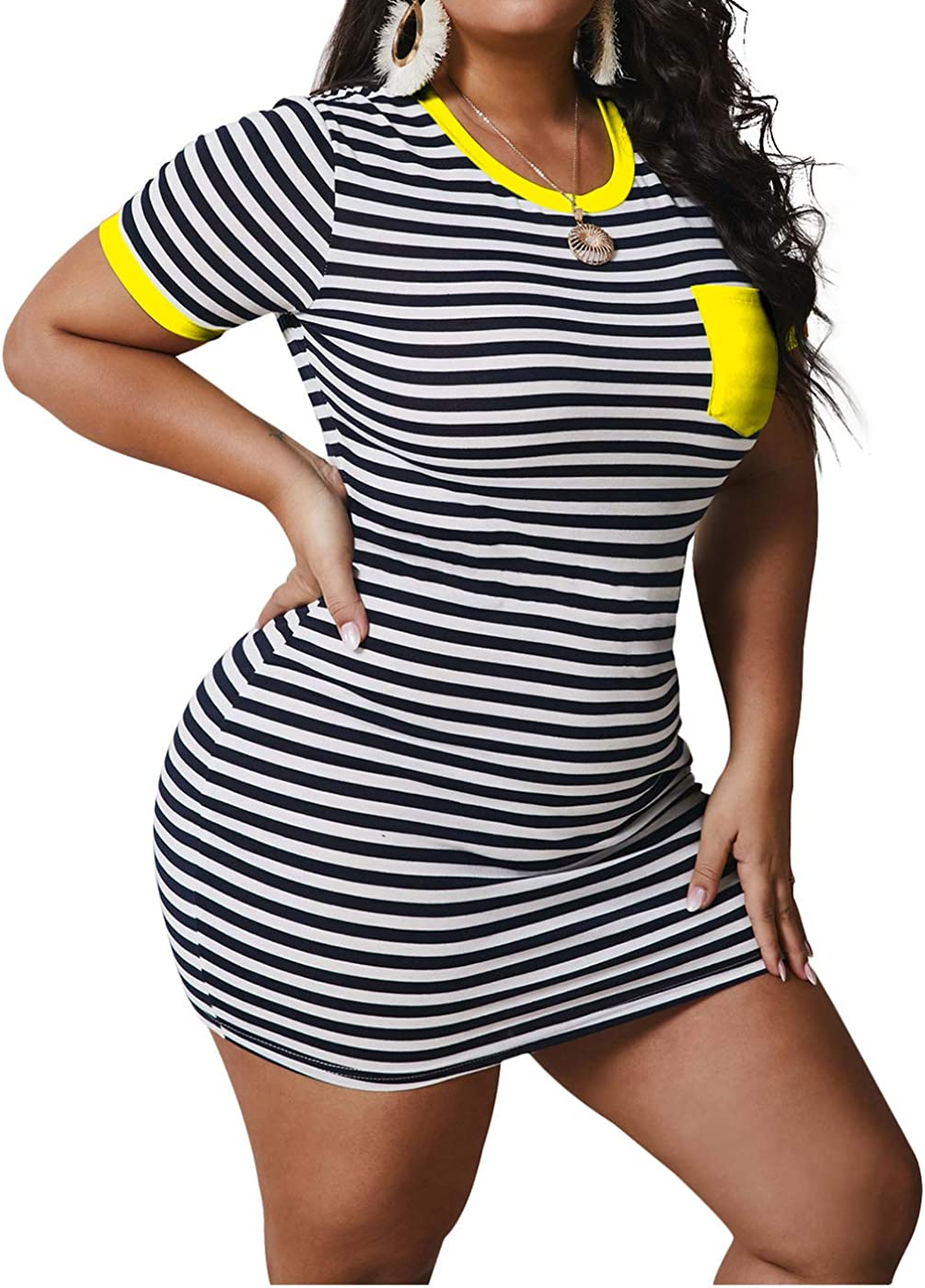 IyMoo Womens Plus Size Casual Short Sleeve Stripe Print Bodycon Slim Tunic T-Shirt Short Mini Dress