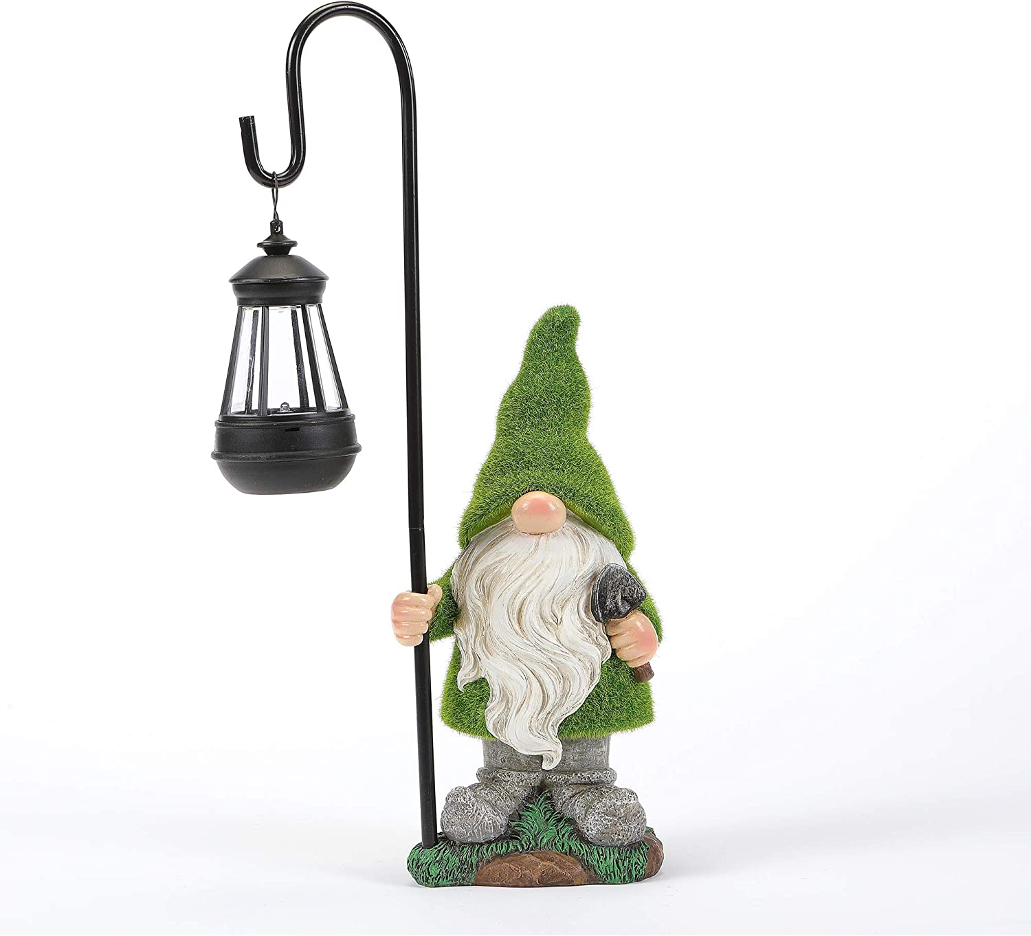 HDNICEZM Flocked Garden Gnome Statue, Large Outdoor Gnome with Solar Lights, Funny Garden Figurines for Outdoor Home Yard Decor (13 Inch Tall)