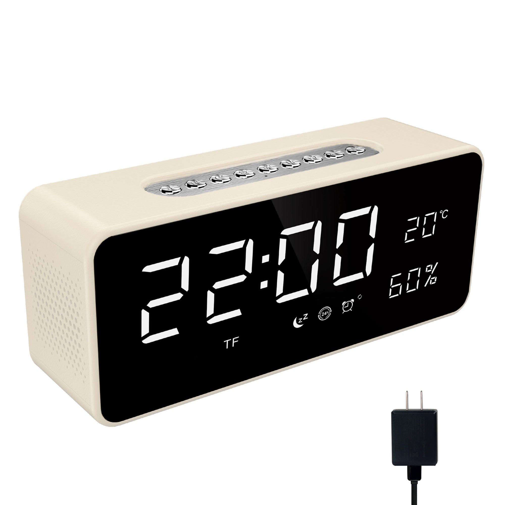Soundance Alarm Clock Radio - with FM Radio, Wireless Speaker, Micro SD/TF Card USB Disk Player, Sleep Timer, Portable for Bedroom Bedside Office Desk Laptop Desktop Computer, S1 White
