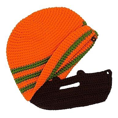 HOMYL Mens Womens Viking Beard Beanie Hat Handmade Winter Warm Wind Guard  Mask Ski Caps - orange green 4fbd3c2b3c