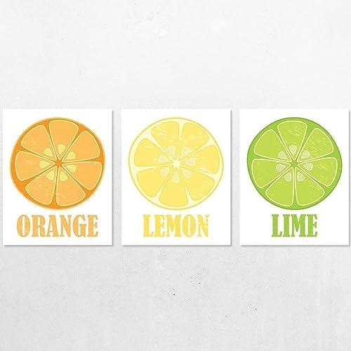 Amazon.com: Citrus Fruit Wall Art Prints, Orange Lemon Lime Vintage ...