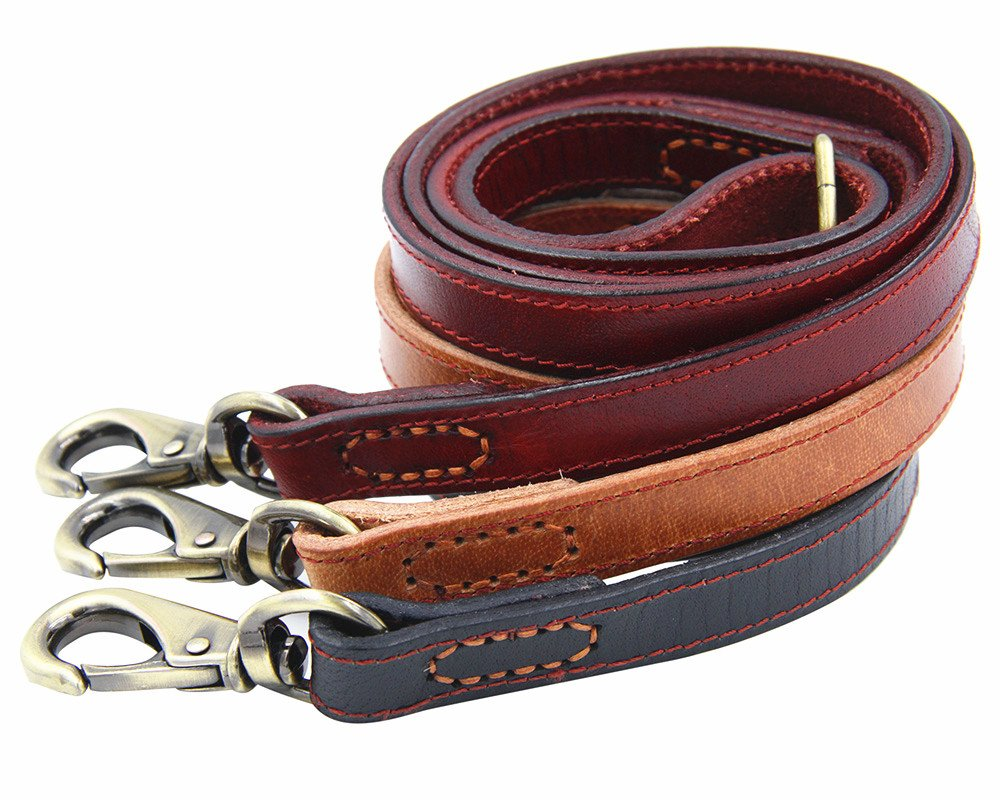 Moonpet Soft and Extra Durable Real Genuine Full Grain Leather Dog Training Leash Lead - Premium Heavy Duty 4 ft x 4/5 Inch - Best for male/female Medium/Large Breeds - Light Brown