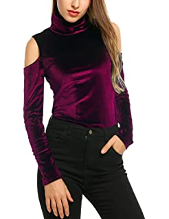 18e17b41febcc Zeagoo Women s Velvet Cold Shoulder Turtleneck Pullover Tops Shirt