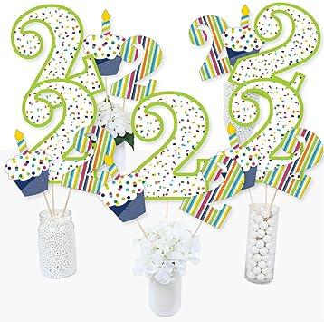 Juego de 15 palitos de centro de mesa para fiesta de segundo cumpleaños con texto en inglés «Cheerful Happy Birthday»: Amazon.es: Juguetes y juegos
