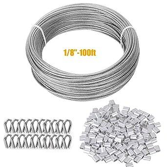 TooTaci 100ft (3mm) Kit de Cuerda cable de Acero Inoxidable Suspensión, Incluye 50 Piezas 1/8