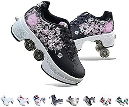 Amazon Com Fbestxie Roller Skates For Women Rollers Shoes For Kids 2 In 1 Inline Skate Multi Purpose Shoes Shoes With Wheels For Girls Boys Quad Roller Double Row Deformation Shoes Sports Outdoors