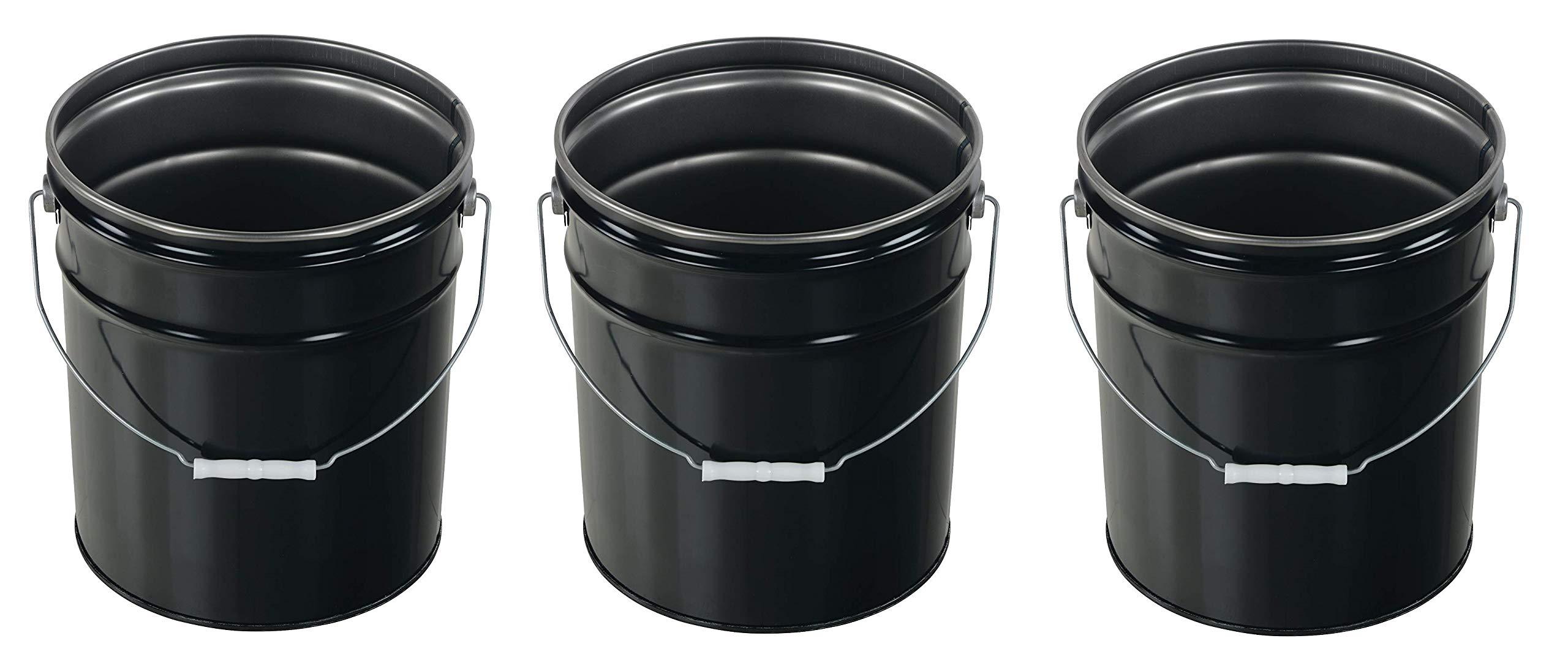 Vestil Pail-STL-RI-UN Steel Pail with Handle, 5 Gallon Capacity, Black (Pack of 3)