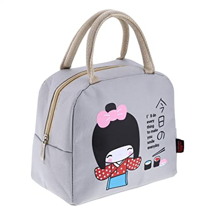87acf17d171e Kawaii Girl Insulated Lunch Bag Bento Lunch Box Bag Lunch Box Container  Bag(Gray)