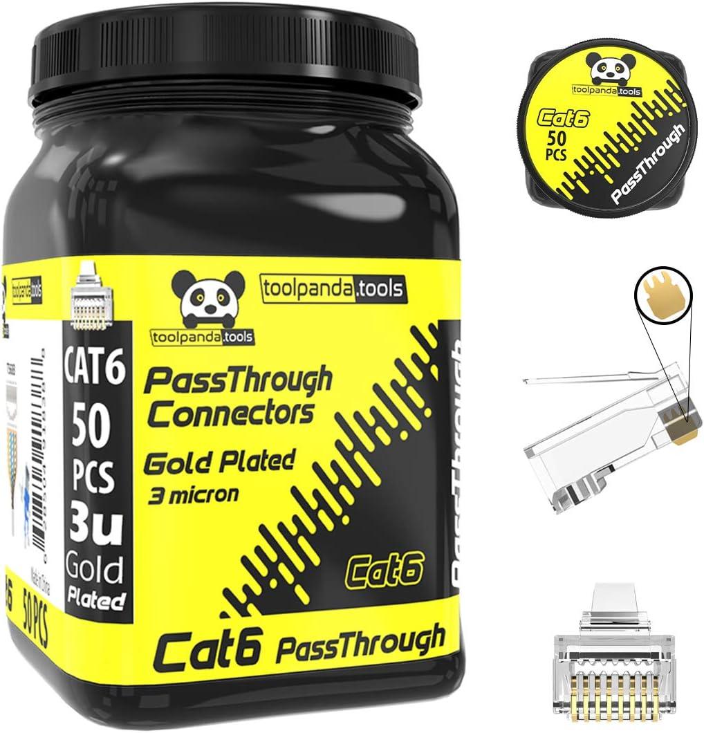 CAT6 passthrough connectors 100 pcs Jar cat6 Push Through Connector cat6 rj45 Pass Through Connector rj45 ez connectors by toolpanda.tools Cat6//100pcs