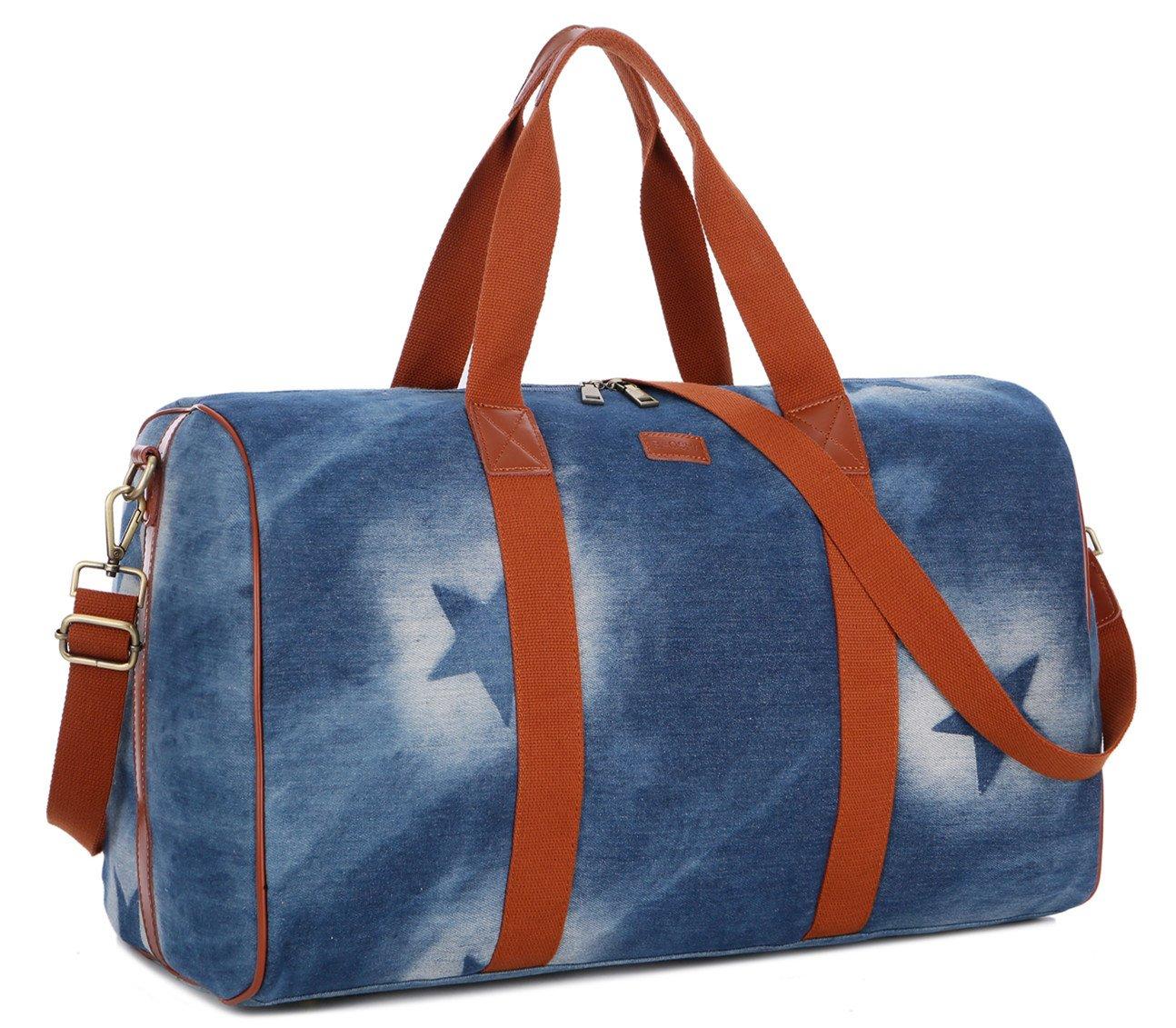 BAOSHA HB-24 Ladies Women Canvas Weekender Bag Cosmetic Travel Bag Overnight Carry on Bag (Blue Star)