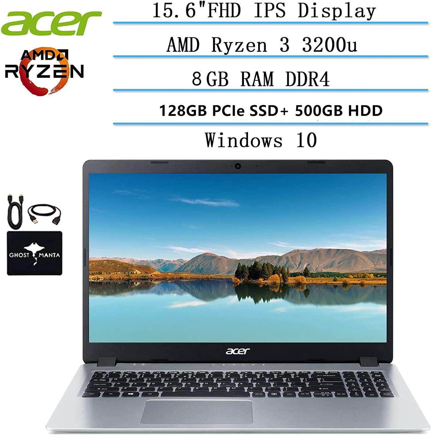 2020 Newest Acer Aspire 5 Slim Laptop 15.6 FHD IPS Display, AMD Ryzen 3 3200u-Dual Core (up to 3.5GHz), Vega 3 Graphics, 8GB RAM, 128GB PCIe SSD + 500GB HDD, Windows 10 w/Ghost Manta Accessories