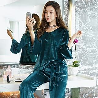 YI Pyjamas Corã©Ens Hiver Dames Plus ÉPais Flanelle Simple Dã©Contractã© Pyjamas Lã¢Che Costume Service à Domicile,Ré,XL Ré