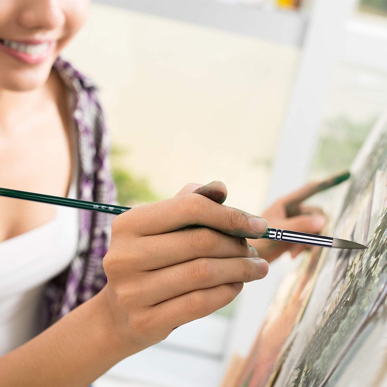 6pcs vert Pinceaux pour artiste Pinceau /¨/¤ peinture fine pour peintures acryliques /¨/¤ laquarelle