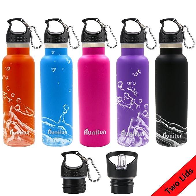 Aunifun Vakuum Isolierte doppelwand Trinkflasche, Wasserflasche 600 ...