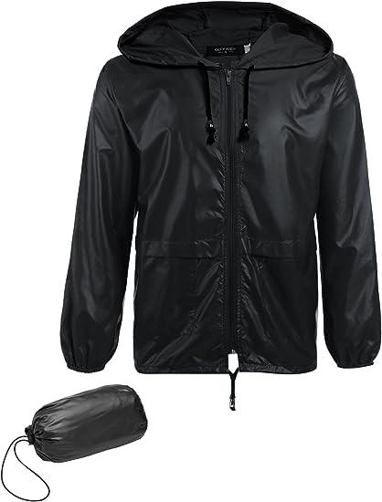 COOFANDY Mens Packable Rain Jacket Classic Cycling Waterproof Raincoat