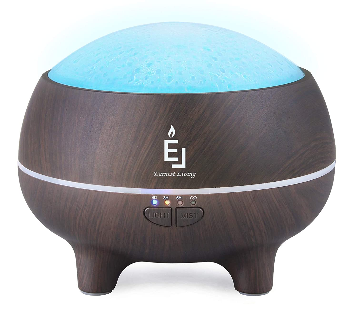 Earnest Living Essential Oil Diffusers Bluetooth Speaker Diffuser with Timer & Water End Auto Shut-off – Cool Mist Humidifier Ultrasonic Defusers with Intermittent Mist Settings for Large Rooms Office