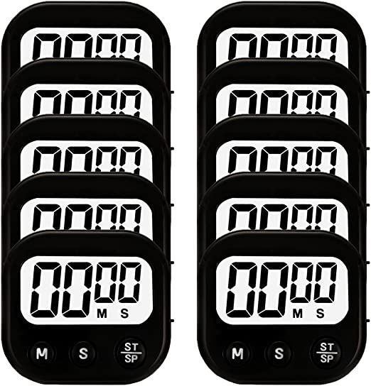12 Pack Red Small Digital Kitchen Timer Magnetic Back And ON//OFF Switch,Minute Second Count Up Countdown