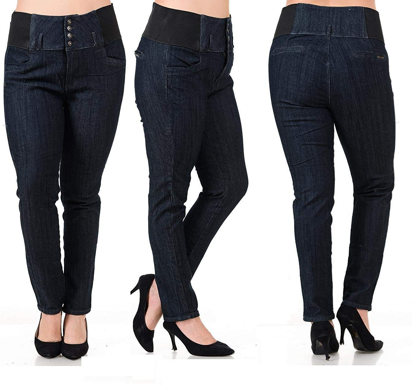 BLA Premium Womens Plus Size Stretch Pregnancy Maternity Black Denim Jeans Pants (16-P)
