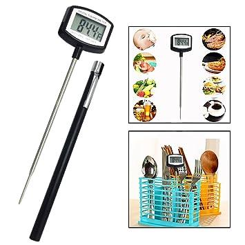 OFKPO Termómetro Digital de Cocina,Termómetro Inoxidable con Lectura Instantánea Pantalla LCD para Medir Temperatura, Alimentos, Barbacoa, Aceite, ...