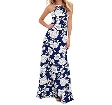 Dress-shop Vestidos Verano 2018 Hanging Neck Print Maxi Boho Dress Summer Halter Neck Sleeveless