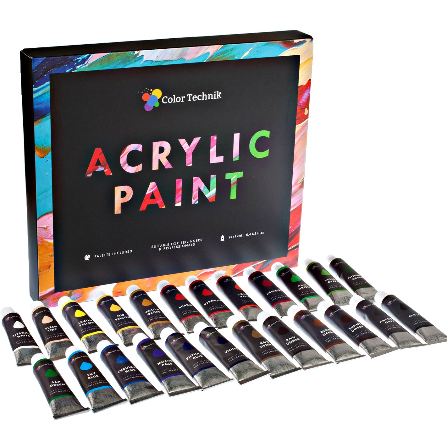 Color and art - Amazon Com Acrylic Paint Set By Color Technik Professional Artist Quality Palette Included 24 Aluminium Tubes Best Colors For Painting Canvas Wood