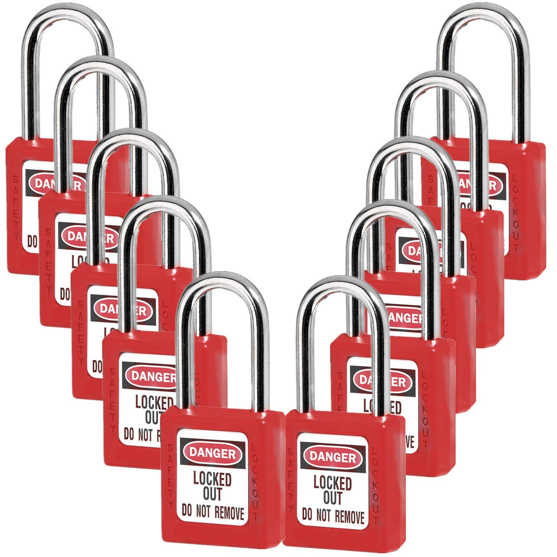 Lockout Tagout Locks, Safety Padlock,Red 10PCS by JOJOMARK