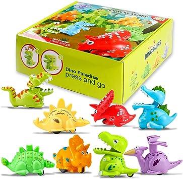 Juguetes Dinosaurios para bebé, 8 Piezas presione y Vaya Juguete del Coche para niños y niñas de 1 2 3 años: Amazon.es: Juguetes y juegos