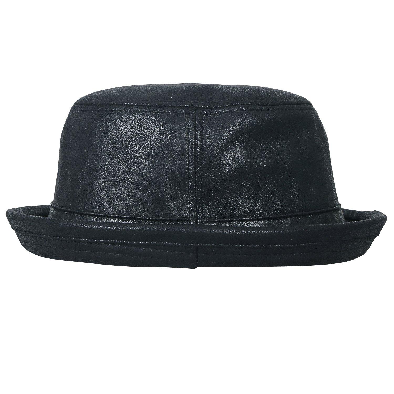 ililily Vintage Faux Leather Rolled Short Brim Fedora Flat Pork Pie Hat, Black, Medium