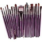 Tefamore 20 pcs pinceau de maquillage outils de maquillage Kit de toilette laine maquillage Brush Set[Violet]