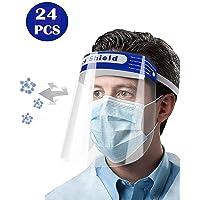 EiioX 24 Pcs Safety Face Shield Full Protection Cap Wide Visor Resistant Spitting Anti-Fog Lens, Lightweight Adjustable Transparent Face Shield for Men Women
