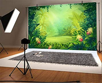 Amazon Com Yeele 6x4ft Tropical Photography Background Palm Leaves Forest Jungle Anime Comic Painting Summer Party Photo Backdrops Portrait Shooting Studio Props Camera Photo