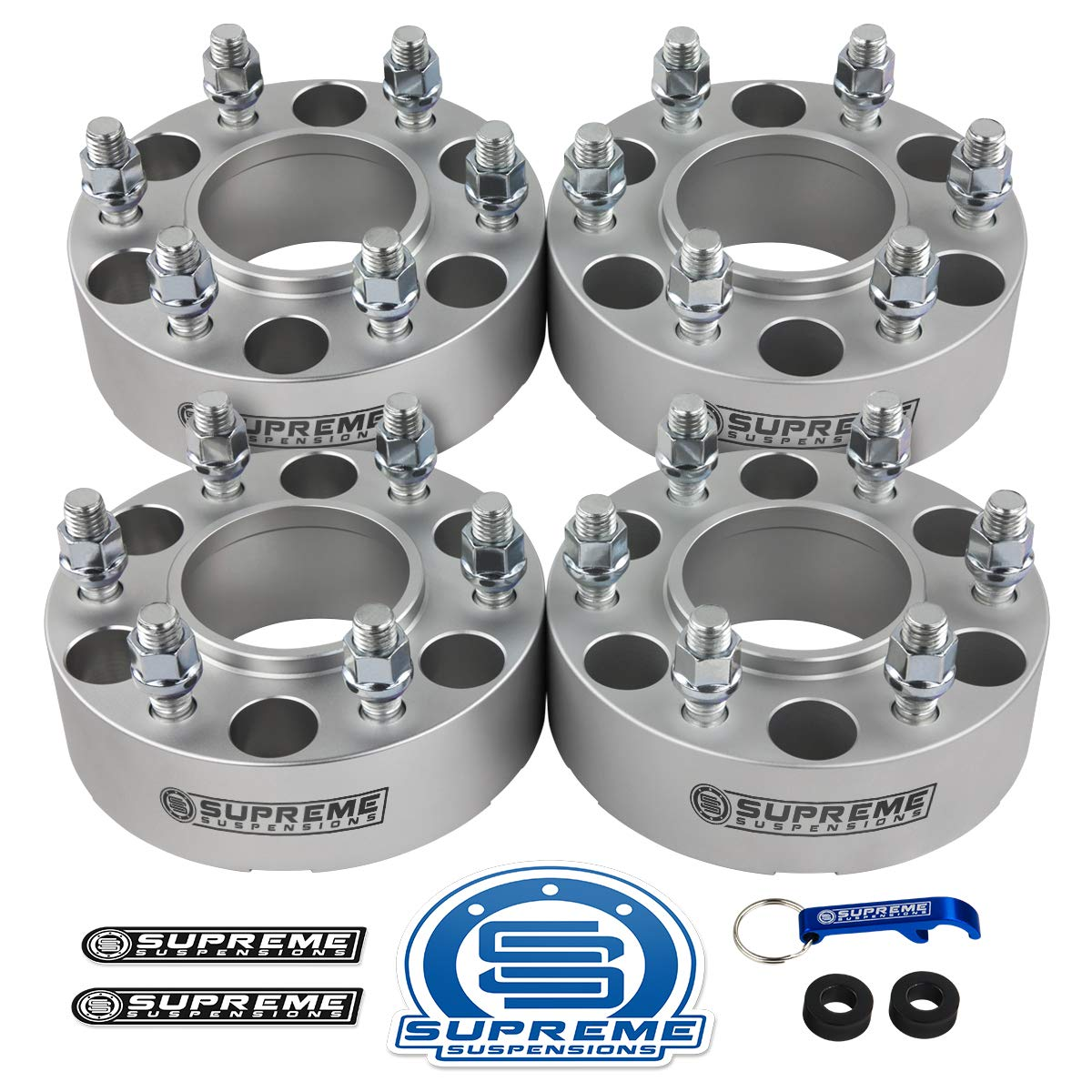 Supreme Suspensions - 4pc 2'' Hub Centric Wheel Spacers for 2004-2014 Ford F150 2WD 4WD 6x135mm BP with M14x2 Studs 87mm Center Bore w/Lip [Silver] by Supreme Suspensions