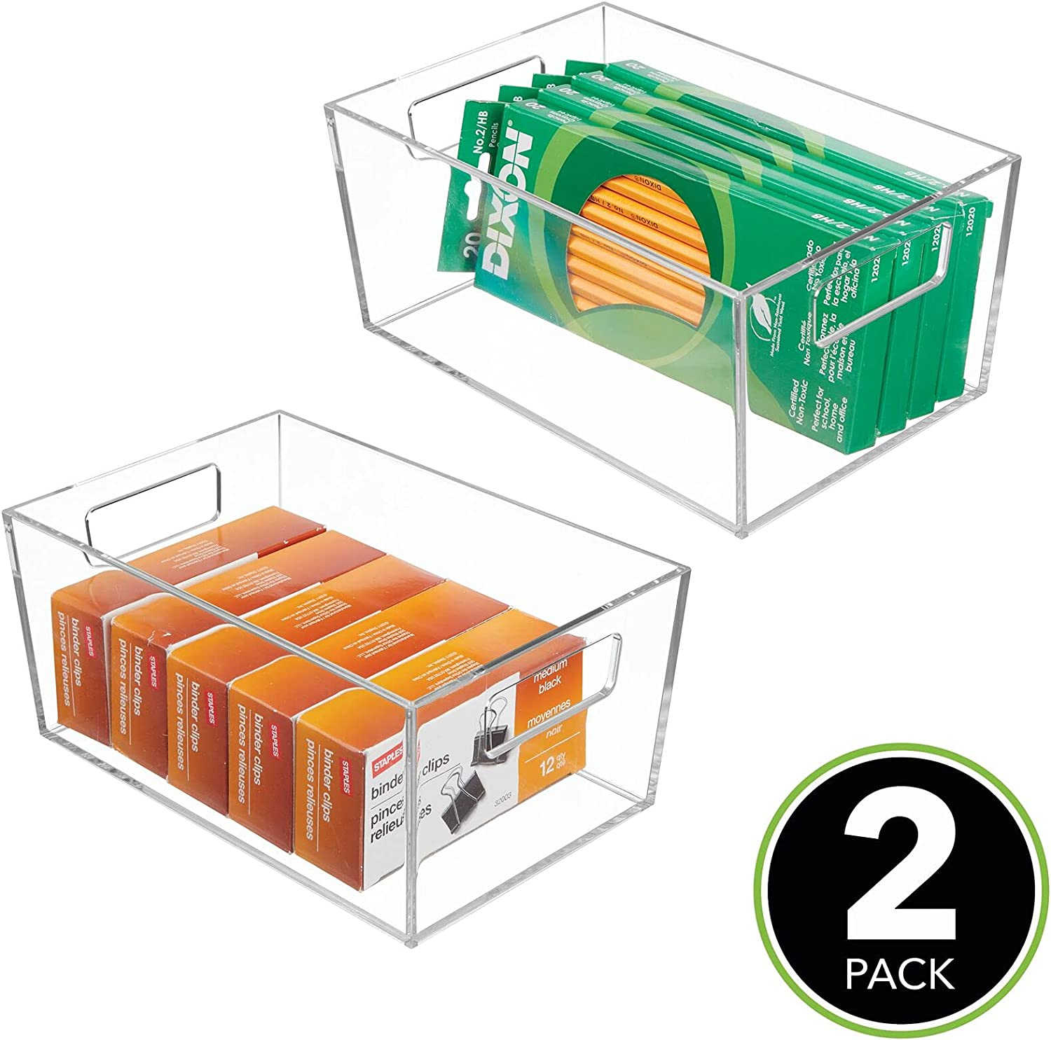 mDesign Rectangular Plastic Office Supplies Storage Organizer Bin with Handles for Paper Pads, Pens, Pencils, Dry Erase Markers, Highlighters, Sticky Notes, Mailing Labels - Small, 2 Pack - Clear: Home & Kitchen