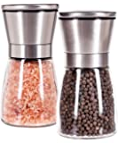 Salt and Pepper Mill Set of 2, Brushed Stainless Steel and Strong Long Glass Body, Hand Ceramic Mechanism, Top Lid Maintains Spice Freshness, Spices are not Included