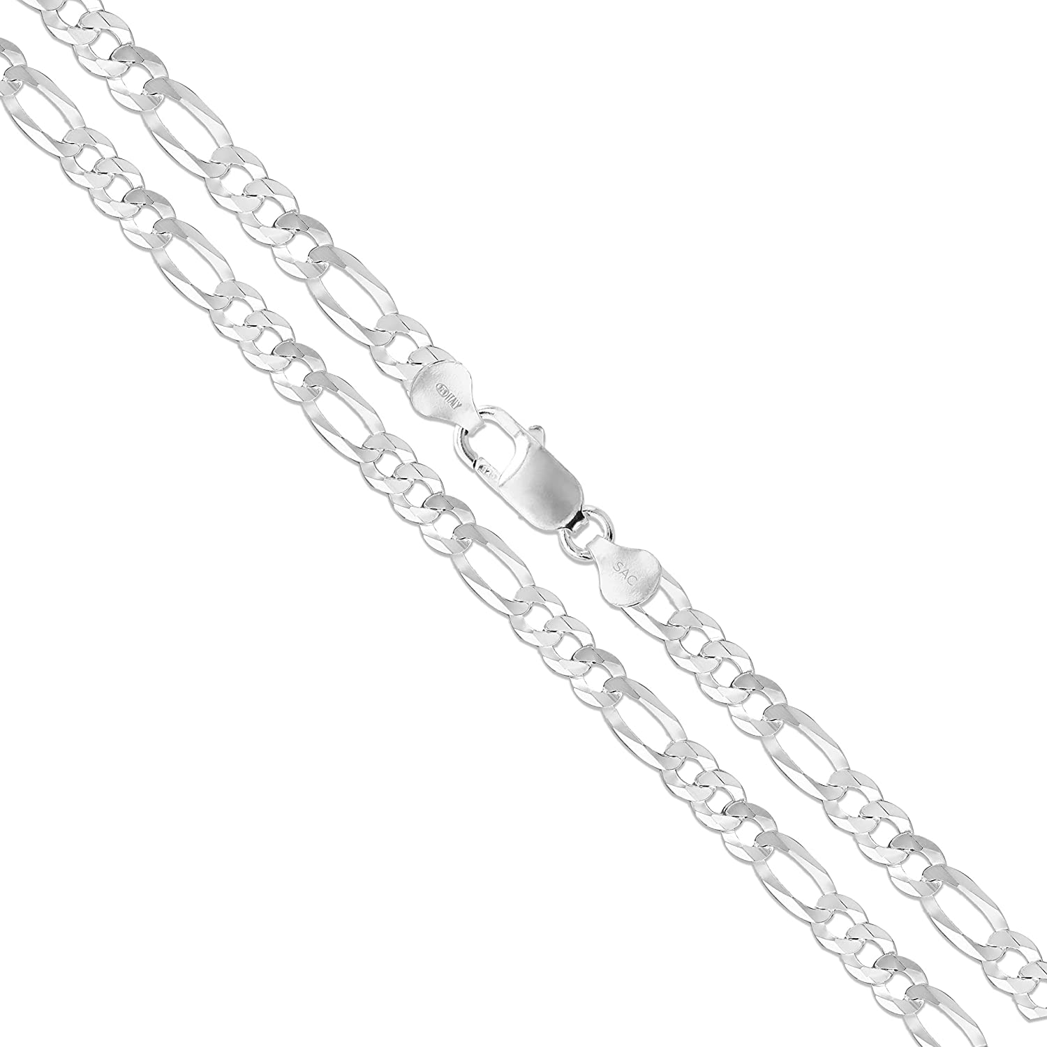 Sterling Silver Flat Figaro Chain At the price of surprise Lin Italy 925 Solid 5.3mm-13mm Fresno Mall