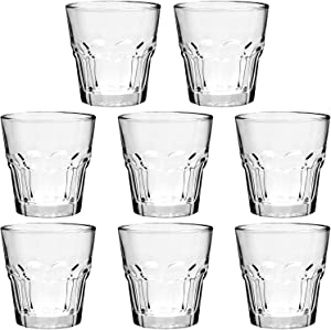 Rock Bar Stackable Beverage Glasses – Set Of 8 Dishwasher Safe Drinking Glasses For Soda, Juice, Milk, Coke, Beer, Spirits – 5oz Durable Tempered Glass Water Tumblers For Daily Use