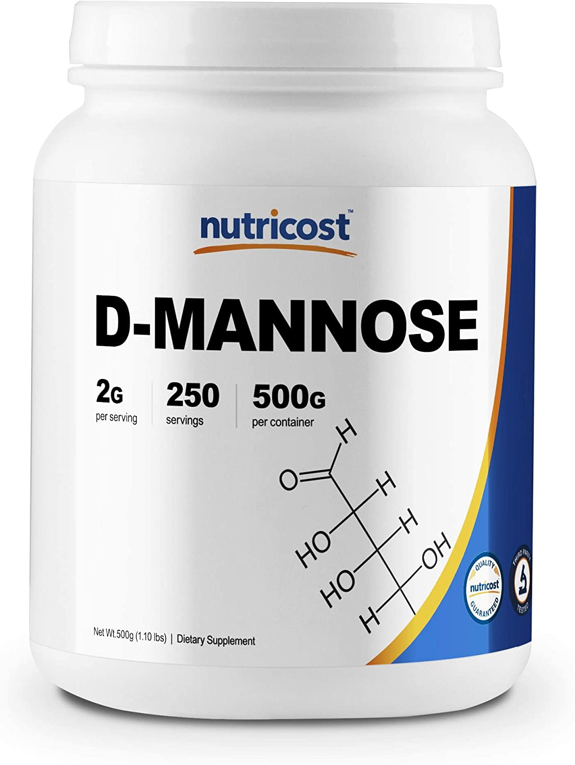 Nutricost D-Mannose Powder 500 Grams (250 Servings) - Non-GMO and Gluten Free