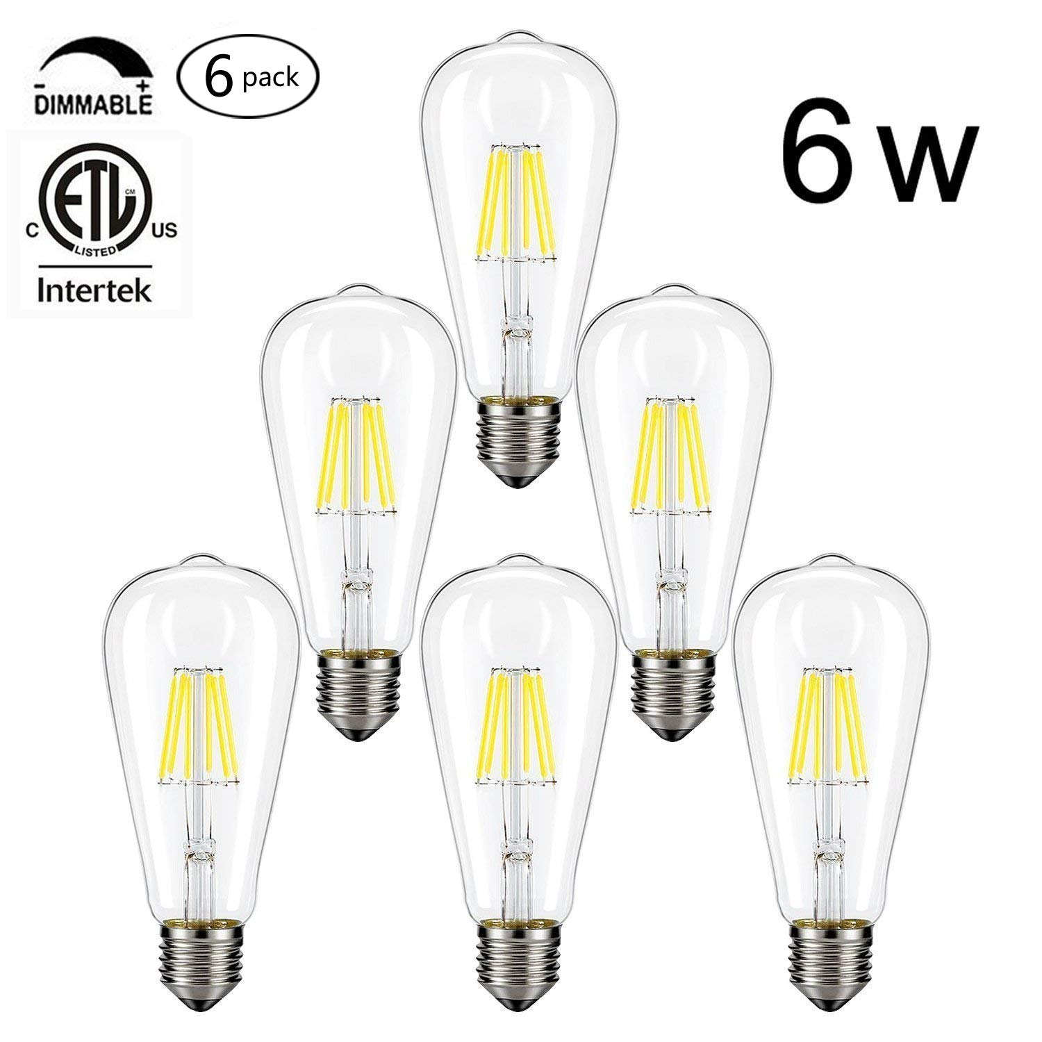 Cmyk Vintage Edison Led Bulb Dimmable 6w St64 Antique Light Wiring Diagram Leviton 660 Squirrel Cage Filament For Decorate Home E26 4000k Soft White Pack Of 6daylight