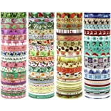 JPSOR Washi Tape Set, 8mm Wide Decorative Masking Adhesive Tape Four Season Paper Tape, Great for DIY, Craft, Gift, Scrapbook-Decorative, Multi-Purpose(48 Rolls) (Colorful) (Colorful)