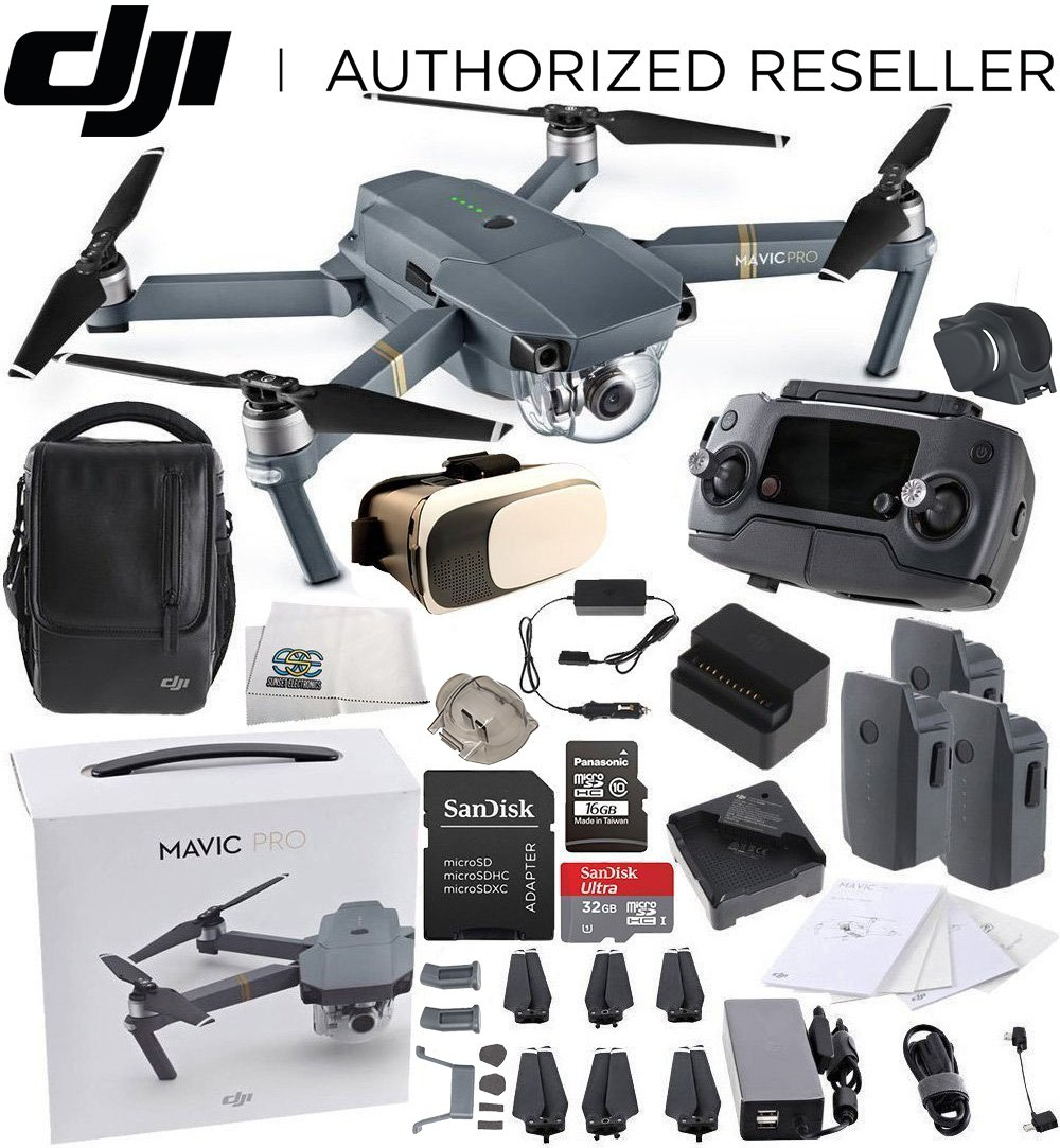 DJI Mavic Pro Fly More Combo Collapsible Quadcopter Virtual Reality Starters Bundle