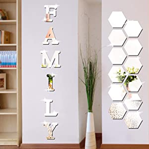 18 Pieces Acrylic Mirror Wall Stickers Family Sign Letters Rustic Farmhouse Wall Decor Removable Acrylic Mirror Setting Wall Sticker Decal for Living Room Bedroom Kitchen Decorations